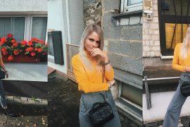 #stylesunday Graue Culotte, senfgelber Turtleneck Pullover und schwarze Ledertasche